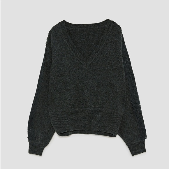 Zara Knit Dark Gray V-neck Sweater
